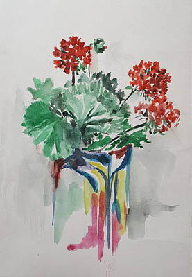 Geraniums In Vase Print by Rita Fetisov