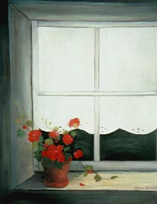 Geraniums In Window Art Print by Glenda Barrett