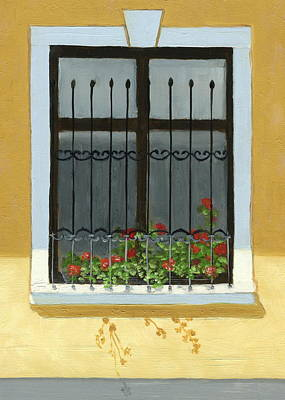 Stucco Painting - Geraniums by Karyn Robinson
