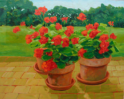 Painting - Geraniums  by Liliane Fournier