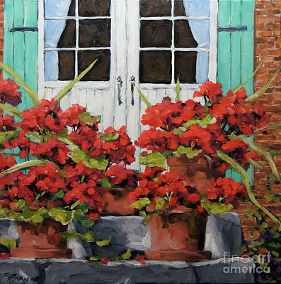 Montreal Scenes Painting - Geraniums On The Porch by Richard T Pranke