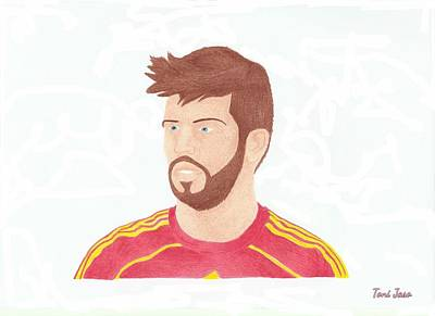 Drawing - Gerard Pique by Toni Jaso