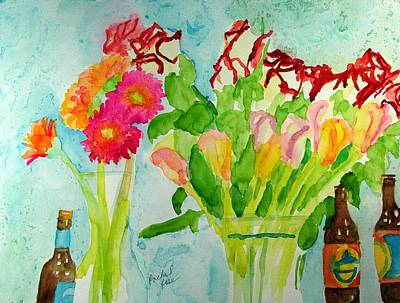 Painting - Gerber Daisies Roses Lilies And Bear by Rachel Rose