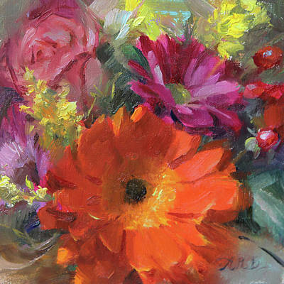 Miniature Painting - Gerber Daisy Study by Anna Rose Bain