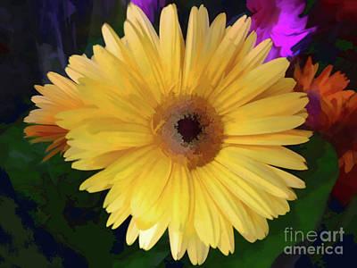 Glass Art - Gerber Yellow  by Jasna Dragun