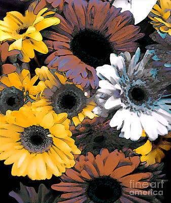 Gerbera Cluster Art Print by Linda  Parker