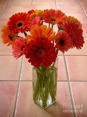 Gerbera Daisies - On Tile Art Print by Lucyna A M Green