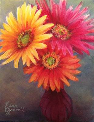 Painting - Gerbera Daisies In Purple Vase by Edna Garrett