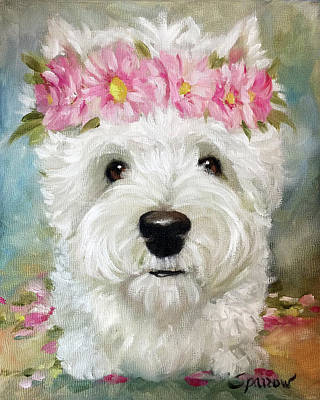 White Dog Painting - Gerbera Daisies by Mary Sparrow