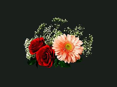 Photograph - Gerbera Daisy And Two Roses by Susan Savad