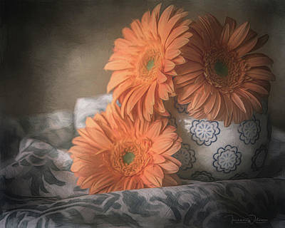 Mixed Media - Gerbera Daisy Trio by Teresa Wilson
