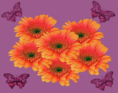 Mixed Media - Gerberas And Butterflies by Johanna Hurmerinta