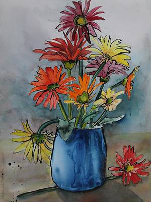 Gerberas In A Blue Pot Art Print