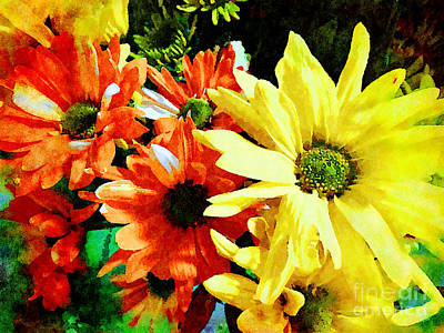 Mixed Media - Gerberer Daisies Yellow And Orange by Femina Photo Art By Maggie