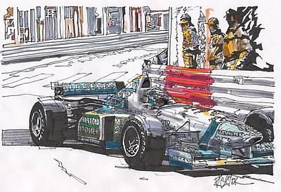 Benetton Wall Art - Drawing - Gerhardt Berger Benetton Monaco Grand Prix by Paul Guyer