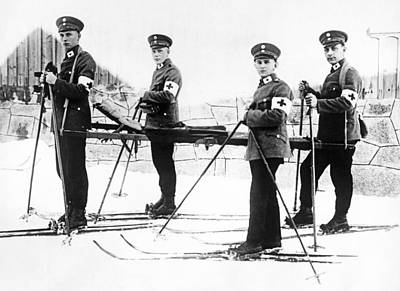 Ambulance Photograph - German Ambulance On Skis by Underwood Archives
