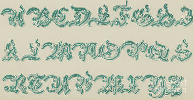 Alphabet Drawing - German Arabesque  by English School