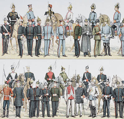 German Army And Cavalry Uniforms At The Art Print