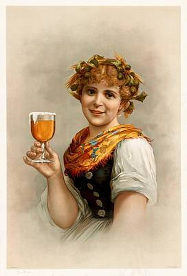 Painting - German Barmaid by Unknown