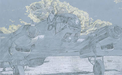 Cockpit Drawing - German Bomber Taxiing  by Dennis Larson