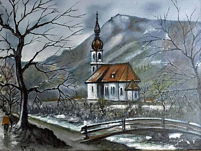 Painting - German Church At Ramsau  by Donald Paczynski