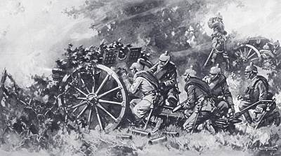 Camouflage Drawing - German Field Guns In Action During by Vintage Design Pics