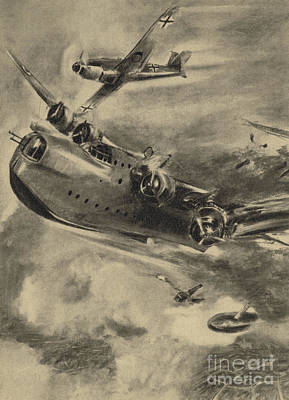 Bomber Drawing - German Fighter Shooting Down A Short Sunderland Flying Boat, World War II  by German School