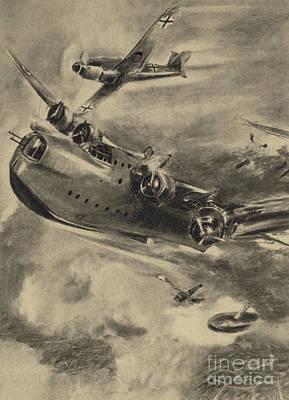 German Fighter Shooting Down A Short Sunderland Flying Boat, World War II  Art Print
