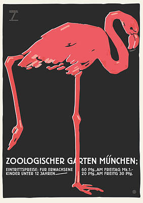 Painting - German Flamingo Zoo by Gary Grayson