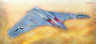 Bomber Painting - German Flying Wing - Pa by Leonardo Digenio