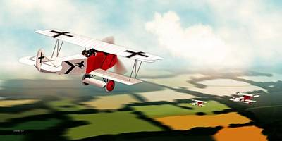 Digital Art - German Fokker D7 Ww1 Fighter by John Wills