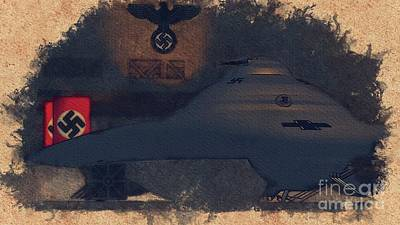 Science Fiction Royalty-Free and Rights-Managed Images - German Haunebu World War Two Test Vehicle by Raphael Terra