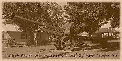 Photograph - German Krupp 15cm Field Gun And Barrel Carrier 1913 by David Dunham