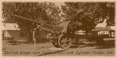 Photograph - German Krupp 15cm Field Gun And Barrel Carrier 1913 by David Dunham