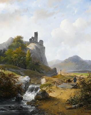 Landscape With Rocks Painting - German Landscape With Ruin by Andreas Schelfhout