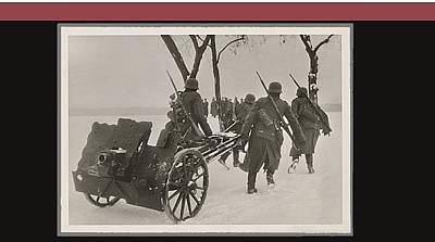 German Occupational Troops Winter Poland 1940 Color And Frames Added  2016 Art Print by David Lee Guss