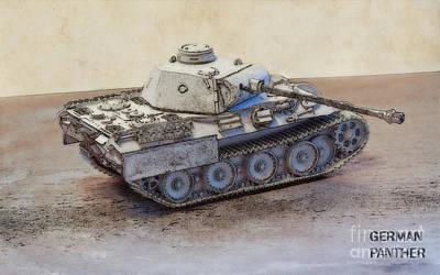 Miniature Watercolors Digital Art - German Panther Tank by Randy Steele
