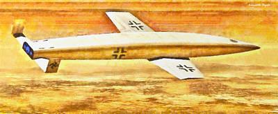 Bomber Digital Art - German Sanger Silbervogel Bomber - Da by Leonardo Digenio