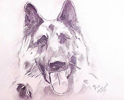 Police Dog Drawing - German Sheapherd 2 by Crystal Webb