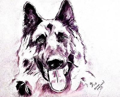 Police Dog Drawing - German Sheapherd by Crystal Webb
