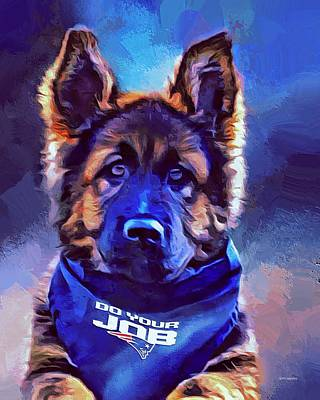 German Shepard Patriots Fan Art Print