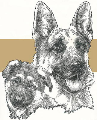 Mixed Media - German Shepherd And Pup by Barbara Keith