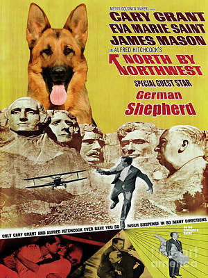 Painting - German Shepherd Art Canvas Print - North By Northwest Movie Poster by Sandra Sij