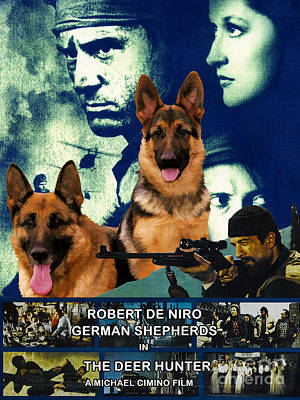 Painting - German Shepherd Art Canvas Print - The Deer Hunter Movie Poster by Sandra Sij