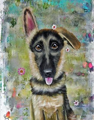 Wall Art - Painting - German Shepherd Baby by Carol Iyer