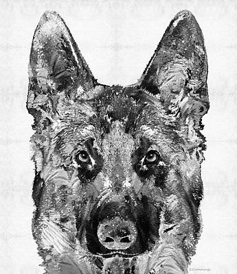 Sniffing Painting - German Shepherd Black And White By Sharon Cummings by Sharon Cummings