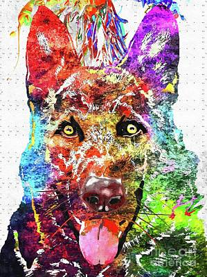 Watercolor Pet Portraits Mixed Media - German Shepherd by Daniel Janda