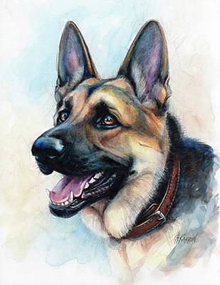 Watercolor Pet Portraits Drawing - German Shepherd Dog by Christine Karron