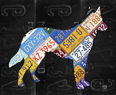 Dog Owner Mixed Media - German Shepherd Dog Pet Owner Love Vintage Recycled License Plate Artwork by Design Turnpike