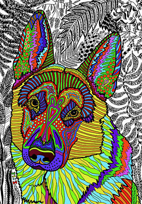 Drawing - German Shepherd Dog by ZileArt